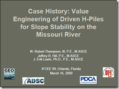 IFCEE09 Slope Stabilization with H-piles_Thompson