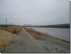 Looking upstream on the Missouri River - Railroad truss bridge in distance