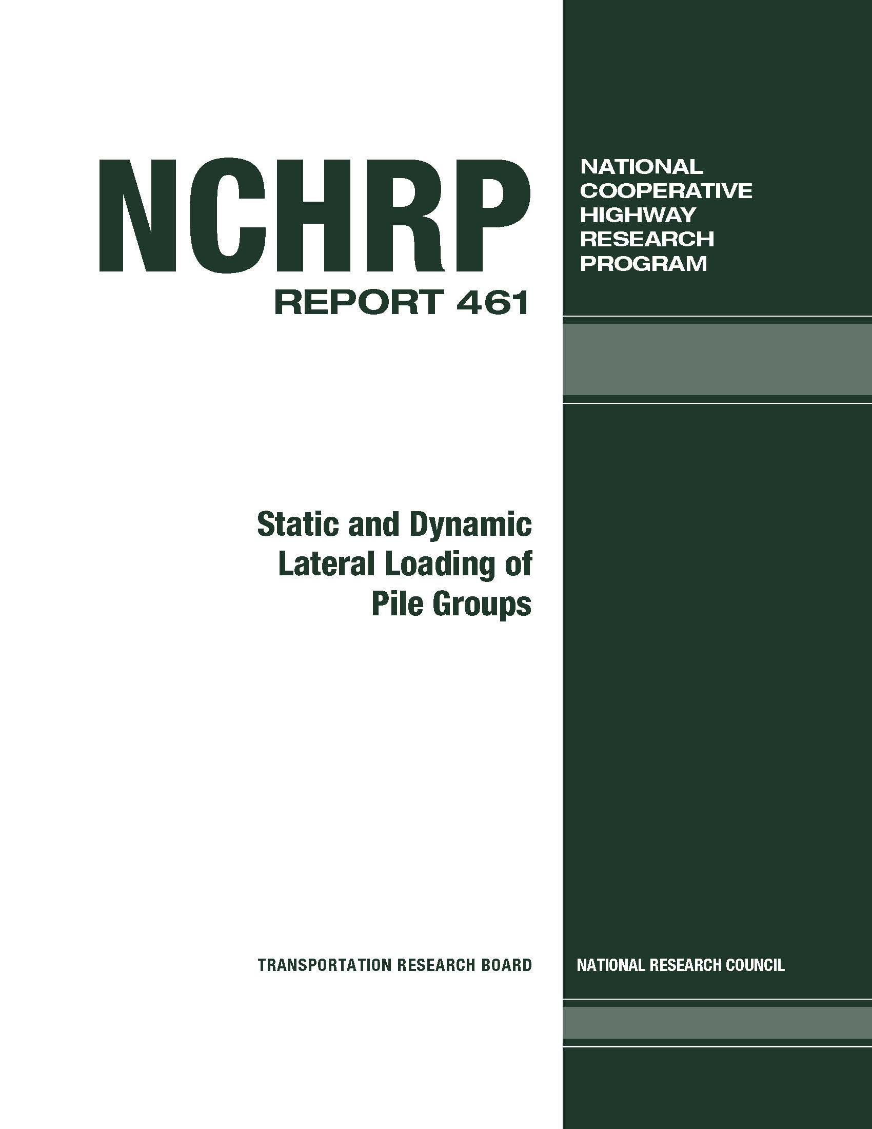 nchrp_rpt_461-Static and Dynamic Loading of Pile Groups